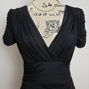 Halston Heritage Shirred Little Black Dress sz Sm